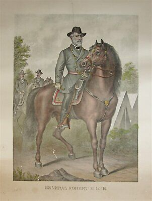 1880s CONFEDERATE GENERAL ROBERT E. LEE CHROMOLITHOGRAPH PRINT LARGE FOLIO 22X35