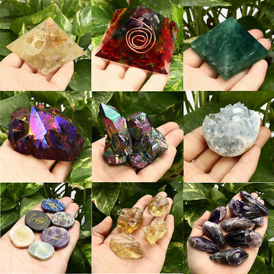 Natural Fluorite Amethyst Point Crystal Quartz Healing Wand Colorful Stone NEW