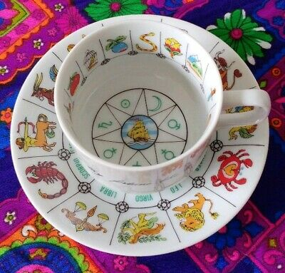 Vintage Tea Leaves Zodiac Fortune Telling Cup & Saucer Set