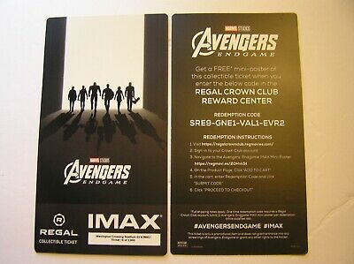 Regal Imax Collectible Ticket Avengers Endgame