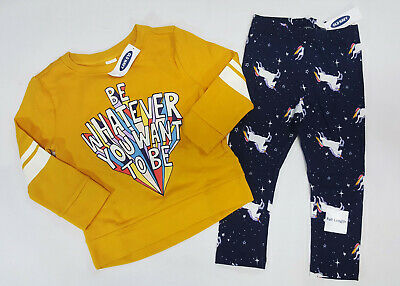 NWT Old Navy Girls 12-18 Months 3t or 4t Yellow Top Unicorn Rainbow Leggings