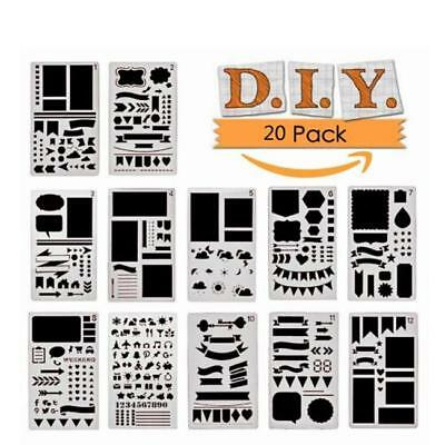 12//24pc Journal Stencil Set Plastic Planner DIY Drawing Template Diary 14.7*21cm