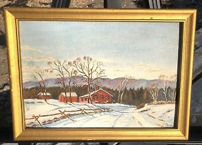 Vintage Folk Art Oil Painting Original Vermont Farm House Snow Green Mountains