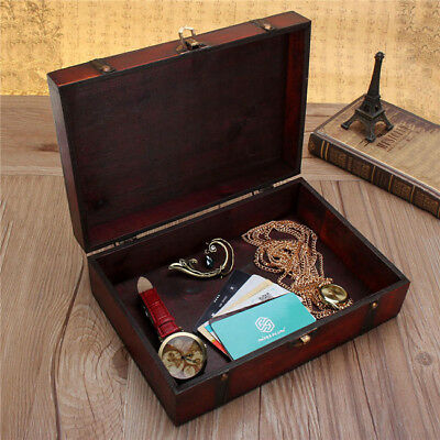 Double Belt Retro Small Wooden Jewelry Ring Storage Box Organizer Case LD