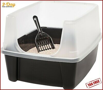 Clean Pet Cat Kitty Open Top Regular Litter Box with Shield and Scoop Black NEW