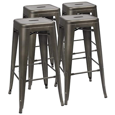 Set of 4 Metal Bar Stools Vintage Counter Bar Stool Stackable Chairs Heavy Duty