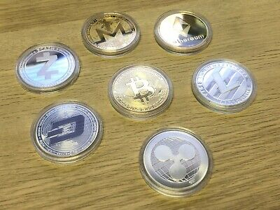 7 Coin Bitcoin Crypto Commemorative Ethereum Dash Ripple Litecoin Zcash Monero