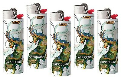 Bic Capricorn Horoscope Lighters 5 Pack, New 2019-2020 Design Quick Shipping!