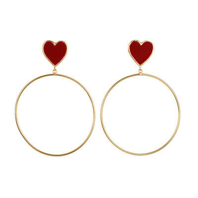 New Red Heart Big Gold Hoop Dangle Earrings For Women LadieS Chic Heart Love 4T5