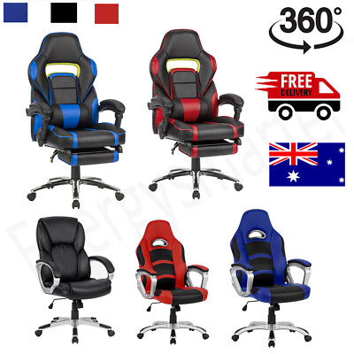 Leather Office Chair Seat Executive Racing Gaming Computer Work Ergonomic Top