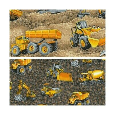 Construction Trucks /& Earth Movers 100/% Cotton Fabric
