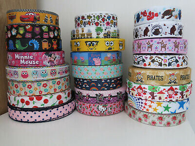 🌼 Printed Grosgrain Ribbon Dummy Hair Clips Cake Craft Hair Bow 1 Meter 22/25mm