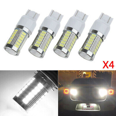 4x T20 White 7443 7440 5630 33SMD LED Dome Map Car Backup Reverse Light Bulb 12V