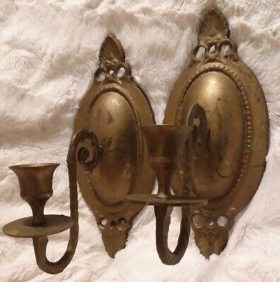 Set of 2 Pair Solid Brass Wall Sconces Candelabras Candle Holders Ornate Design