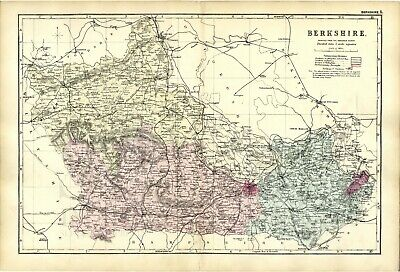 1891 Antique Map BERKSHIRE County HOUSES Farms RAILWAYS Stations WINDSOR Reading