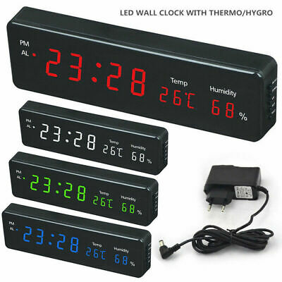 Electronic LED Digital Wall Clock With Temperature Humidity Display Home Clocks