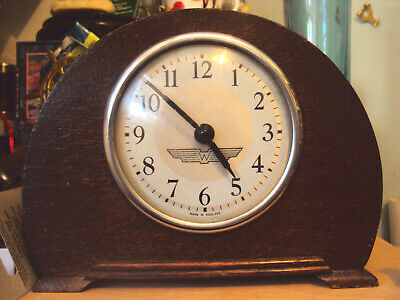 Lovely Little Art Deco Oak Quarter Mantle Clock with Wings Logo to the Dial