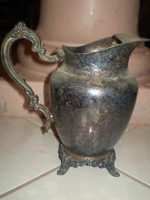 Antique Serving Style Water Pitcher Silverplate Floral & Pedestal Feet