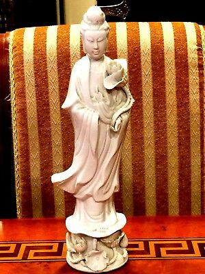 """Antique Chinese Porcelain Guanyin Buddha Guanine Statues Figurines 14.25""""H"""