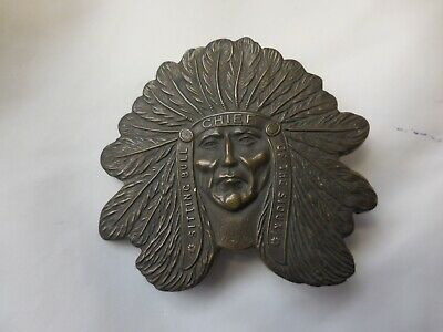 Tiffany and Co. Brass Belt Buckle Sitting Bull Sioux Chief Vintage  70s