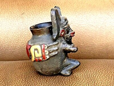"Antique Pre Columbian Mayan Pottery Small Statue Vase Figurine 2.75""H"
