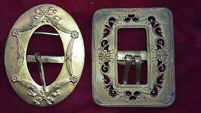 Two Nice & Collectable Ornate Antique French Gilded Metal Belt Buckles