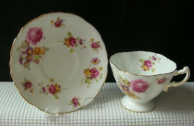 Vintage Hammersley FOOTED TEA CUP & SAUCER Floral Rose Sprays 6136 China England
