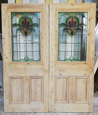 A Pair Of Reclaimed Victorian Pine Doors With Art Nouveau Stained Glass Dp0264