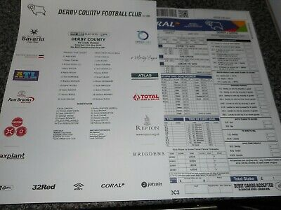 DERBY COUNTY  v  LEEDS UNITED   2018/19  MAY 11  PLAY-OFF S/F 1st LEG TEAM SHEET