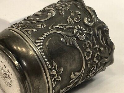 antique Derby Silver Company repousse  #1506 toothpick  holder(674)