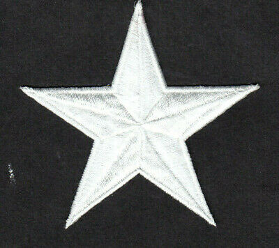 """WHITE STAR LARGE (3 3/8"""") Iron On Patch Astrology Stars"""