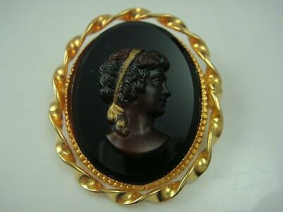 Vintage Oval Gold Tone Black Glass Brown Cameo Pin Brooch