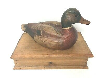 Rustic Wooden Storage Box w/ Mallard on Top - Wood Box w/ Duck Men's Jewelry Box