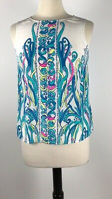 3a49df8b96ae23 Lilly Pulitzer Iona Silk Sleeveless Top Engineered Sea Weed Size Small