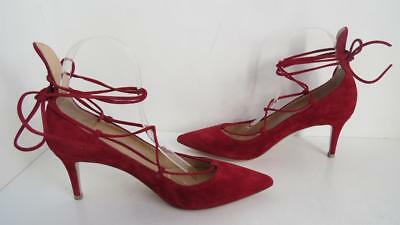 58d8e52436f GIANVITO ROSSI RED Suede Mid Heel Pumps Ankle Strap, IT 41.5 fits 41 ...