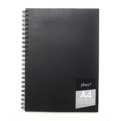 A4 Visual Art Diary 120 Pages White - Wire Bound Spiral Hardcover Black 110 gsm