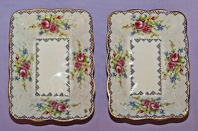 "[2] Two Royal Albert ""Petit Point"" English Bone China Candy Trinket Dishs"