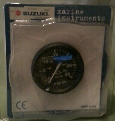 "SUZUKI OUTBOARD PARTS 2"" Water Pressure Gauge (30psi) - Black 99105"