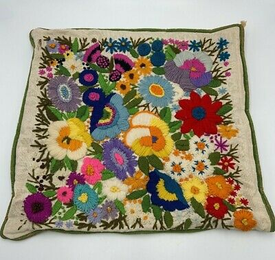 "Vintage Crewel Embroidered Finished Pillow Cover 14"" Square BOHO Floral"