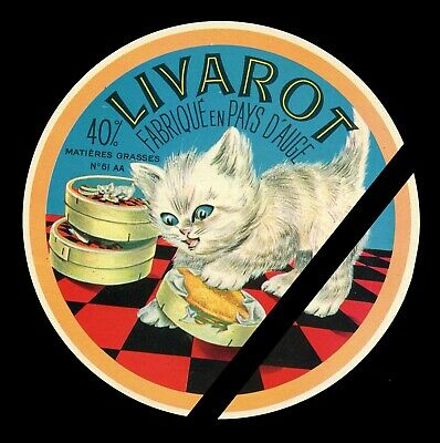 Original Vintage French Cheese Label: Cats - Livarot - Fromage