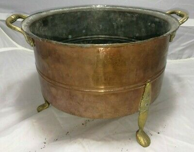Antique ~Vintage ~Copper Planter with Brass Handles and Brass Feet ~ Jardiniere