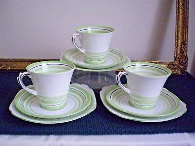 ART DECO TRIOS X 3 ROSLYN CLASSIC DESIGN BONE CHINA. MADE IN ENGLAND c.1920-30's