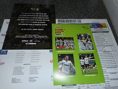 DERBY COUNTY  v  LEEDS UNITED  2018/19  MAY 11  POSF + FREE STICKER SET & EXTRAS