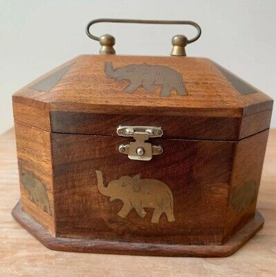 Hand Carved elephant Wooden Box - Indian - Brass Inlay With handle Rare