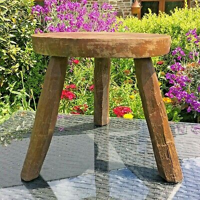 VINTAGE French OAK Stool 3 Legs PLANT POT STAND VERY Rustic Charming STOOL