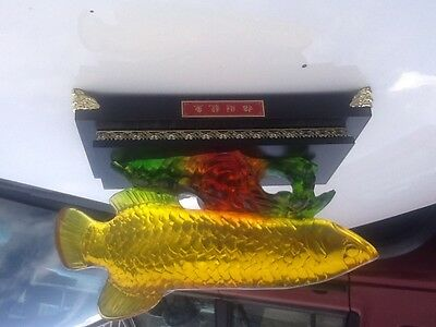Used oriental Chinese fish ornament in original box green, orange and yellow