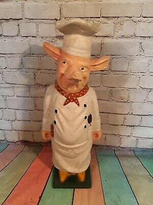 Antique Vintage Old Cast Iron Butchers Chef Pig Shop Window Display 1950's