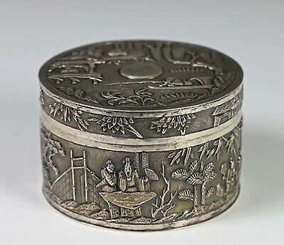 Antique Chinese Export Silver Round Covered Box with Figures