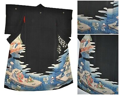 Japanese Antique Kimono Silk Black Courtesans Geisha Pleasure Quarters 1920s
