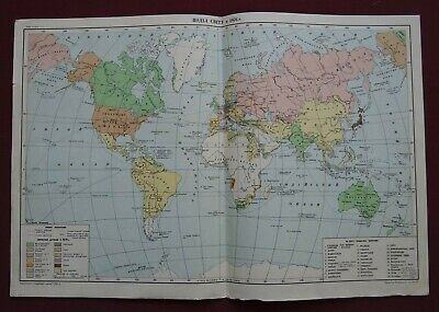Old CCCP MAP / Political WORLD Division in 1876 / Soviet School POSTER BIG 1951